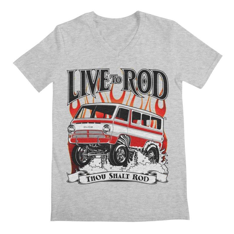 69' Dodge Gasser van, clean red Men's V-Neck by screamnjimmy's Artist Shop