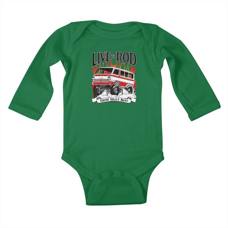 69' Dodge Gasser van, clean red Kids Baby Longsleeve Bodysuit by screamnjimmy's Artist Shop