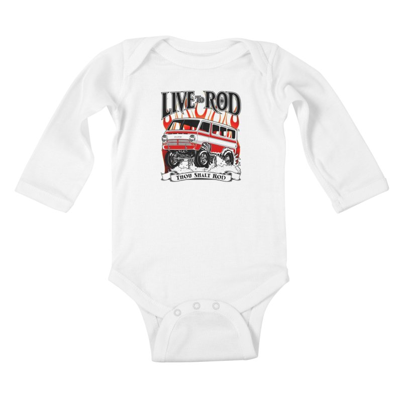 69' Dodge Gasser van, clean red Kids Baby Longsleeve Bodysuit by screamnjimmy's Artist Shop