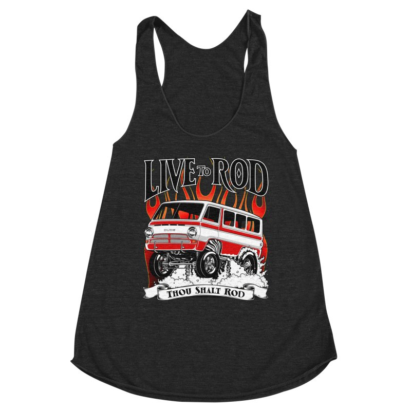 69' Dodge Gasser van, clean red Women's Racerback Triblend Tank by screamnjimmy's Artist Shop