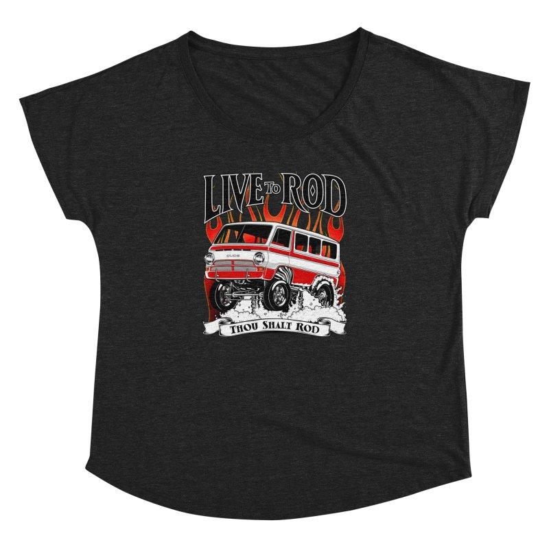 69' Dodge Gasser van, clean red Women's Dolman Scoop Neck by screamnjimmy's Artist Shop