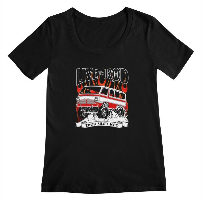 69' Dodge Gasser van, clean red Women's Scoopneck by screamnjimmy's Artist Shop