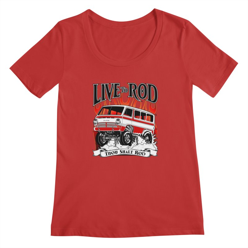 69' Dodge Gasser van, clean red Women's Regular Scoop Neck by screamnjimmy's Artist Shop