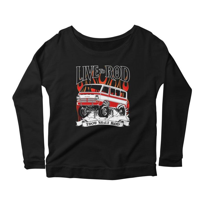 69' Dodge Gasser van, clean red Women's Scoop Neck Longsleeve T-Shirt by screamnjimmy's Artist Shop