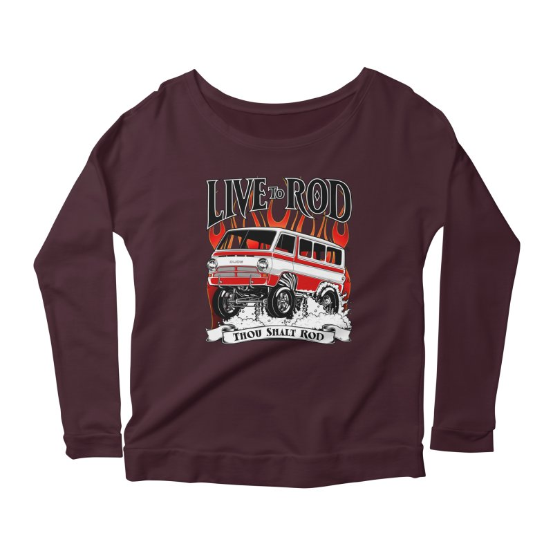 69' Dodge Gasser van, clean red Women's Longsleeve Scoopneck  by screamnjimmy's Artist Shop