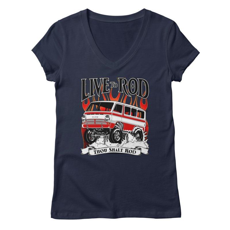 69' Dodge Gasser van, clean red Women's Regular V-Neck by screamnjimmy's Artist Shop