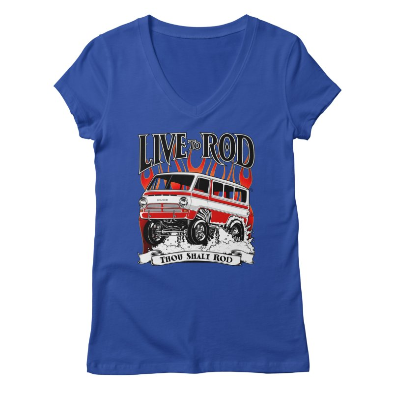 69' Dodge Gasser van, clean red Women's V-Neck by screamnjimmy's Artist Shop