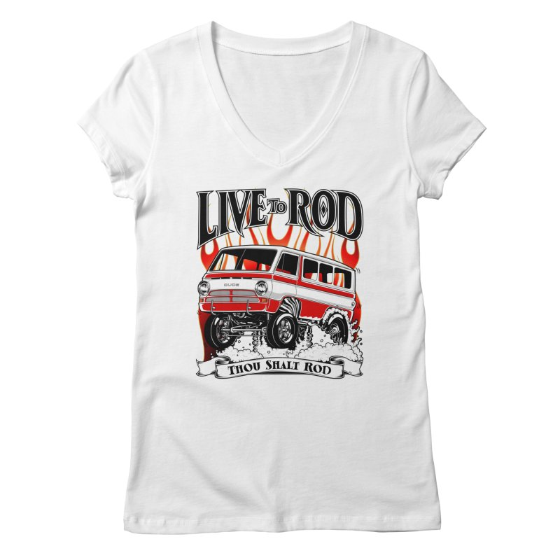 69' Dodge Gasser van, clean red Women's V-Neck by screamnjimmy's Artist Shop