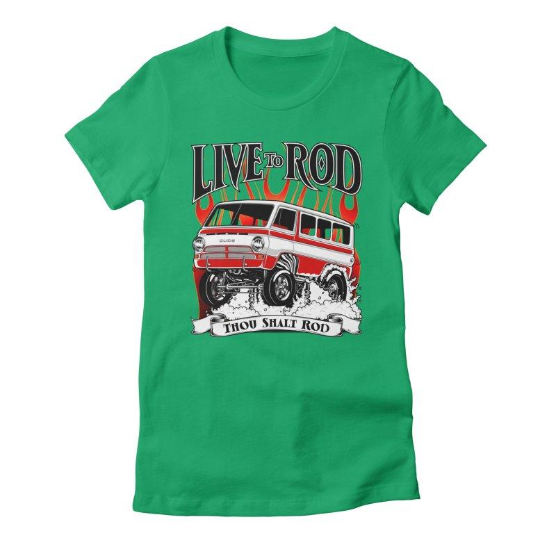 69' Dodge Gasser van, clean red Women's Fitted T-Shirt by screamnjimmy's Artist Shop