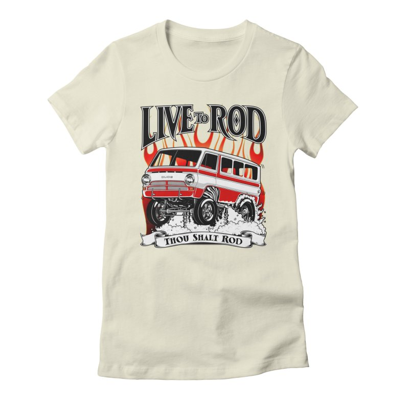 69' Dodge Gasser van, clean red Women's Fitted T-Shirt by screamnjimmy's Artist Shop
