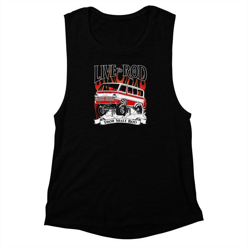69' Dodge Gasser van, clean red Women's Muscle Tank by screamnjimmy's Artist Shop