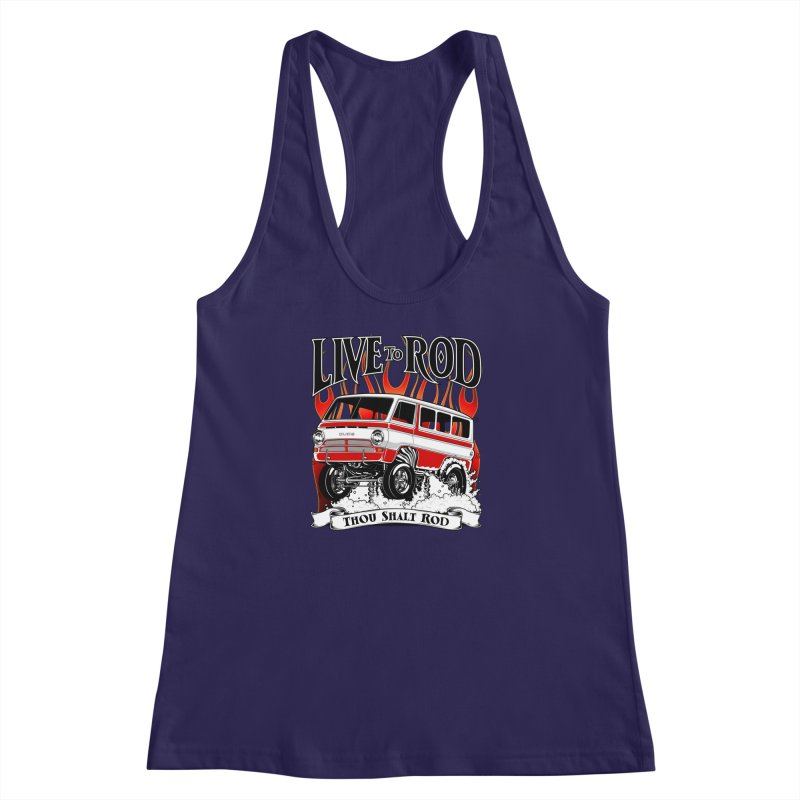 69' Dodge Gasser van, clean red Women's Racerback Tank by screamnjimmy's Artist Shop