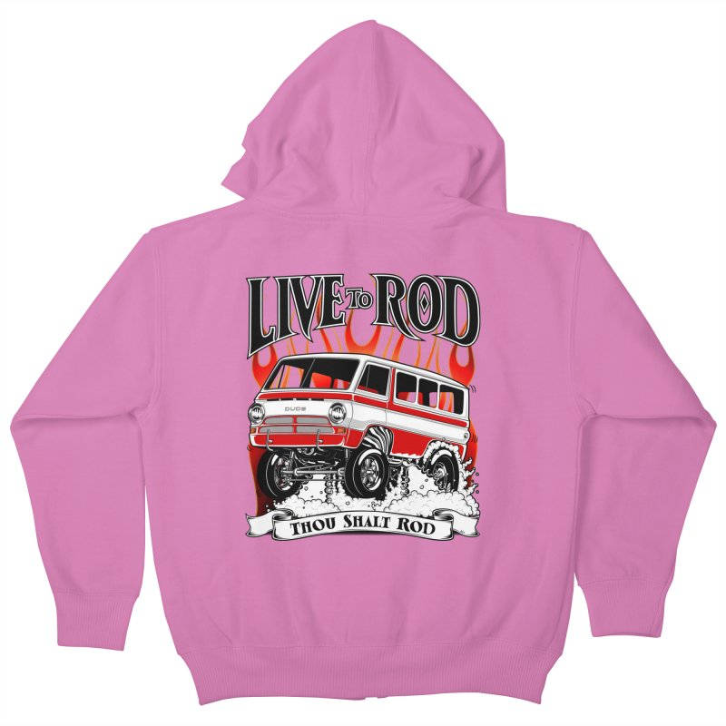69' Dodge Gasser van, clean red Kids Zip-Up Hoody by screamnjimmy's Artist Shop