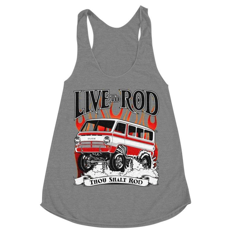 69' Dodge Gasser van, clean red Women's Racerback Triblend Tank by screamnjimmy's Artist Shop