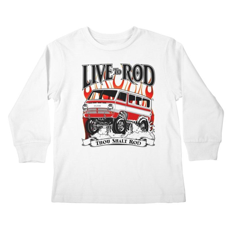 69' Dodge Gasser van, clean red Kids Longsleeve T-Shirt by screamnjimmy's Artist Shop