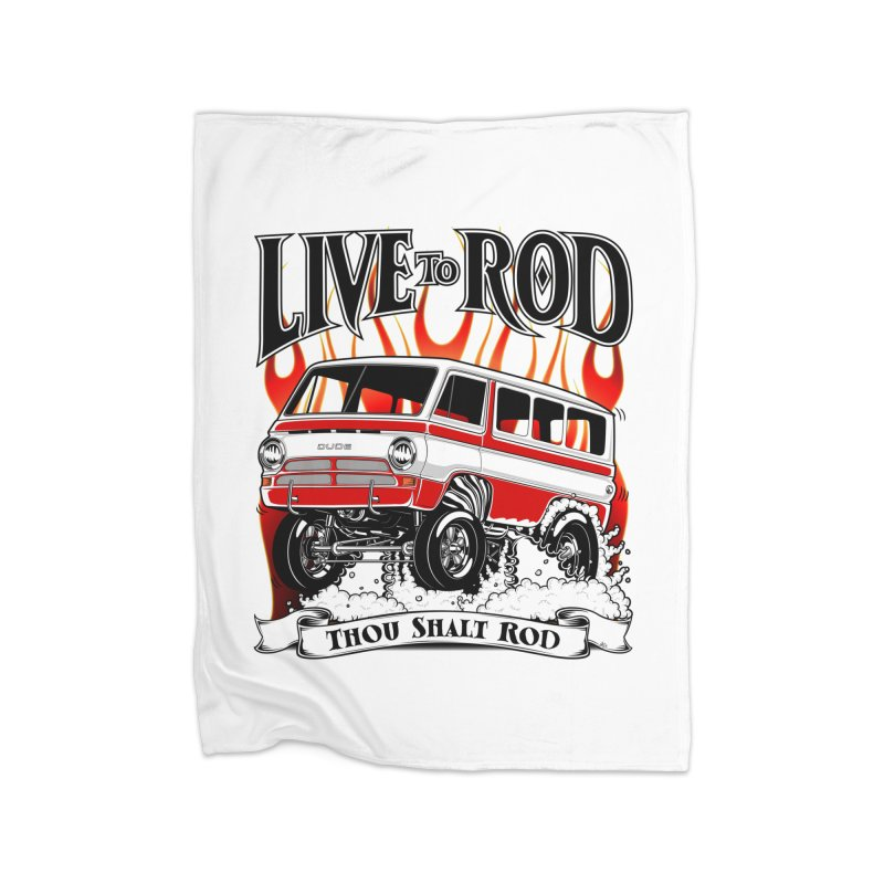 69' Dodge Gasser van, clean red Home Fleece Blanket Blanket by screamnjimmy's Artist Shop