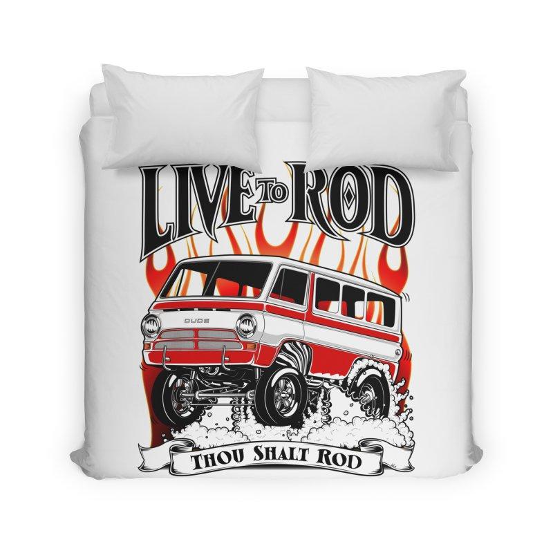 69' Dodge Gasser van, clean red Home Duvet by screamnjimmy's Artist Shop