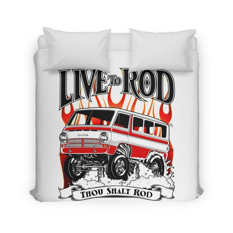 69' Dodge Gasser van, clean red Home Duvet by screamnjimmy's Artist Shop