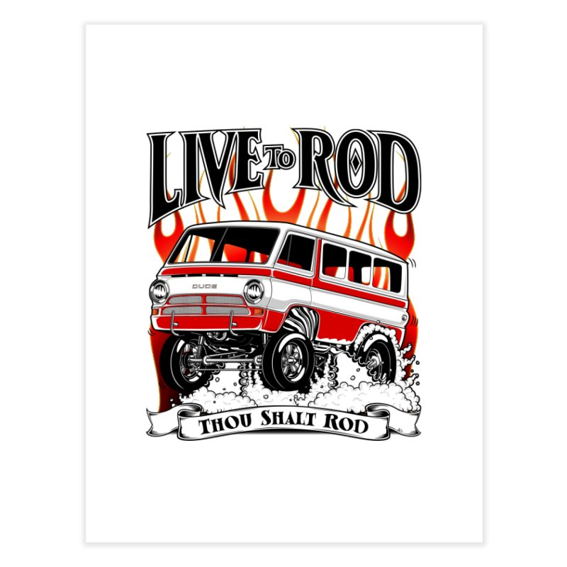 69' Dodge Gasser van, clean red Home Fine Art Print by screamnjimmy's Artist Shop