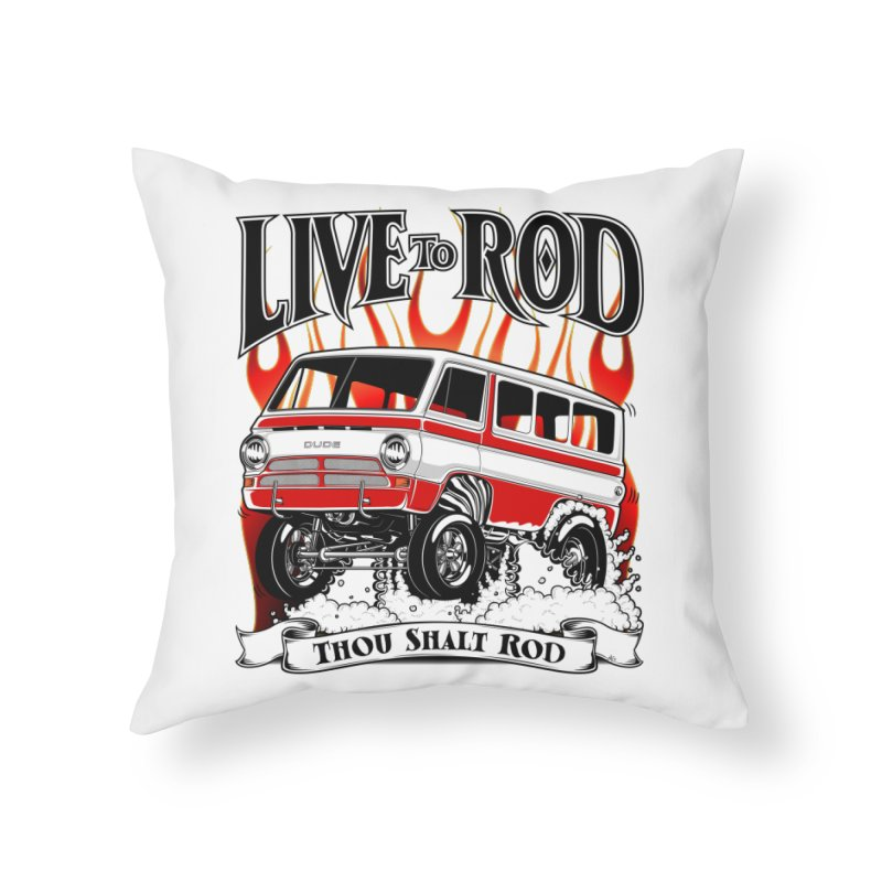 69' Dodge Gasser van, clean red Home Throw Pillow by screamnjimmy's Artist Shop