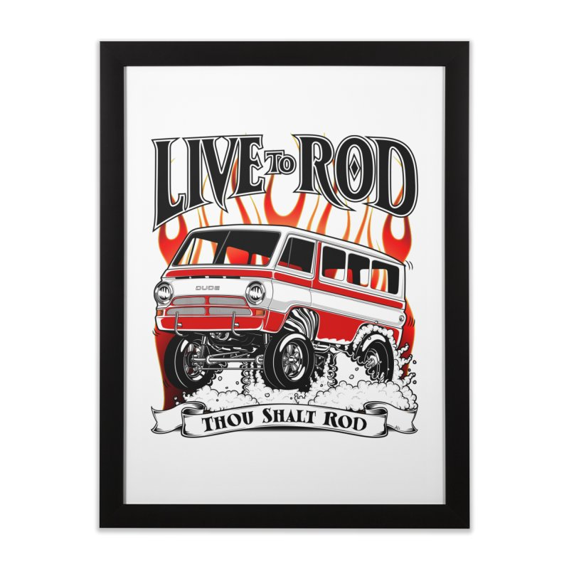 69' Dodge Gasser van, clean red Home Framed Fine Art Print by screamnjimmy's Artist Shop