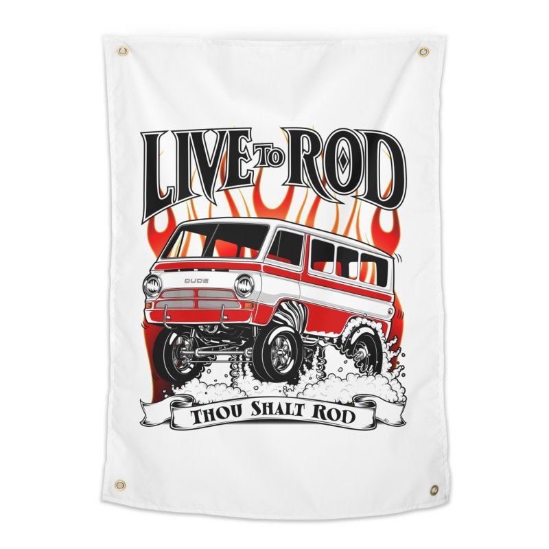 69' Dodge Gasser van, clean red Home Tapestry by screamnjimmy's Artist Shop