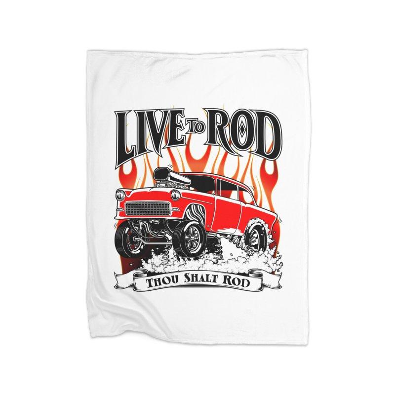 55 Chevy Gasser #2, Clean red Home Blanket by screamnjimmy's Artist Shop