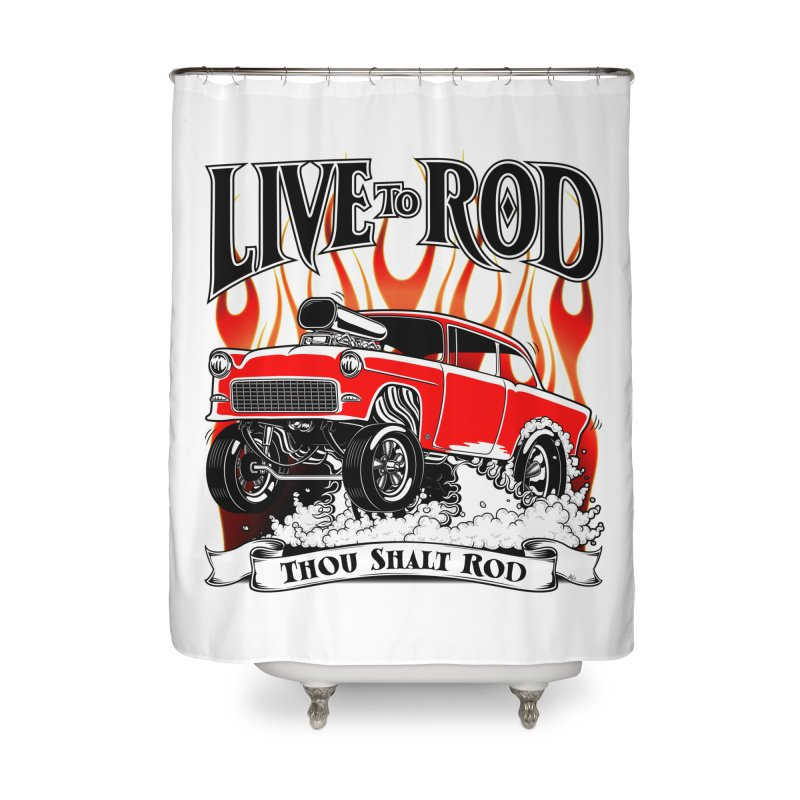 55 Chevy Gasser #2, Clean red Home Shower Curtain by screamnjimmy's Artist Shop