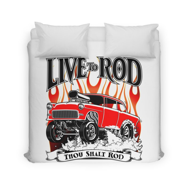 55 Chevy Gasser #2, Clean red Home Duvet by screamnjimmy's Artist Shop