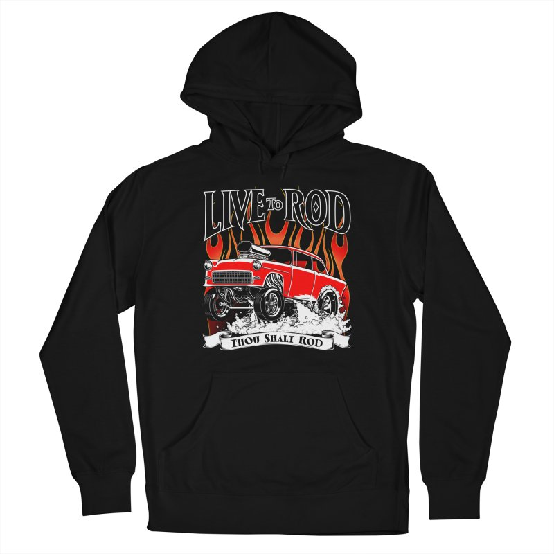 55 Chevy Gasser #2, Clean red Men's French Terry Pullover Hoody by screamnjimmy's Artist Shop