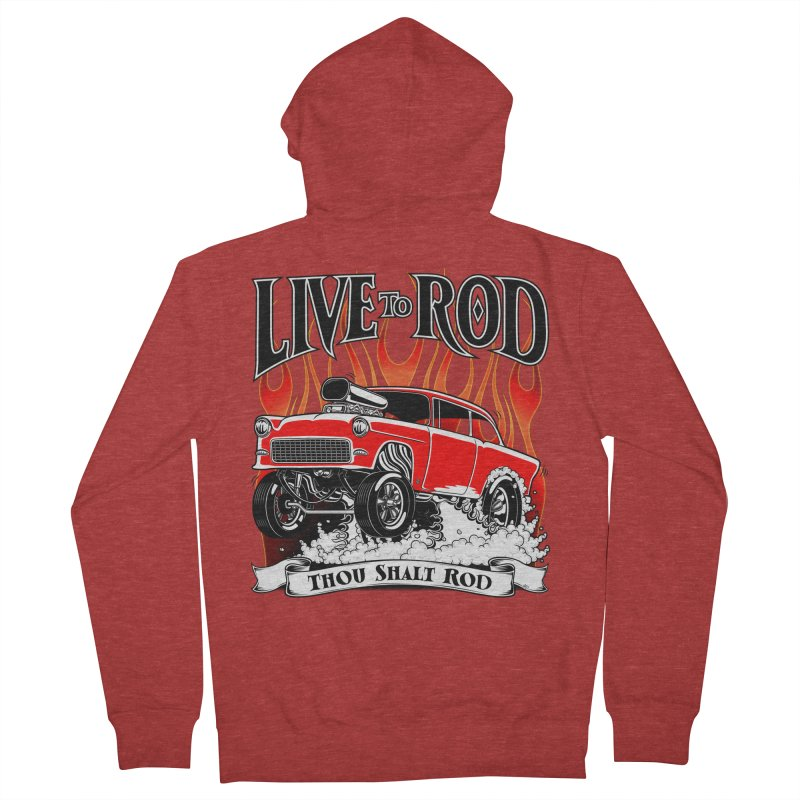 55 Chevy Gasser #2, Clean red Women's Zip-Up Hoody by screamnjimmy's Artist Shop