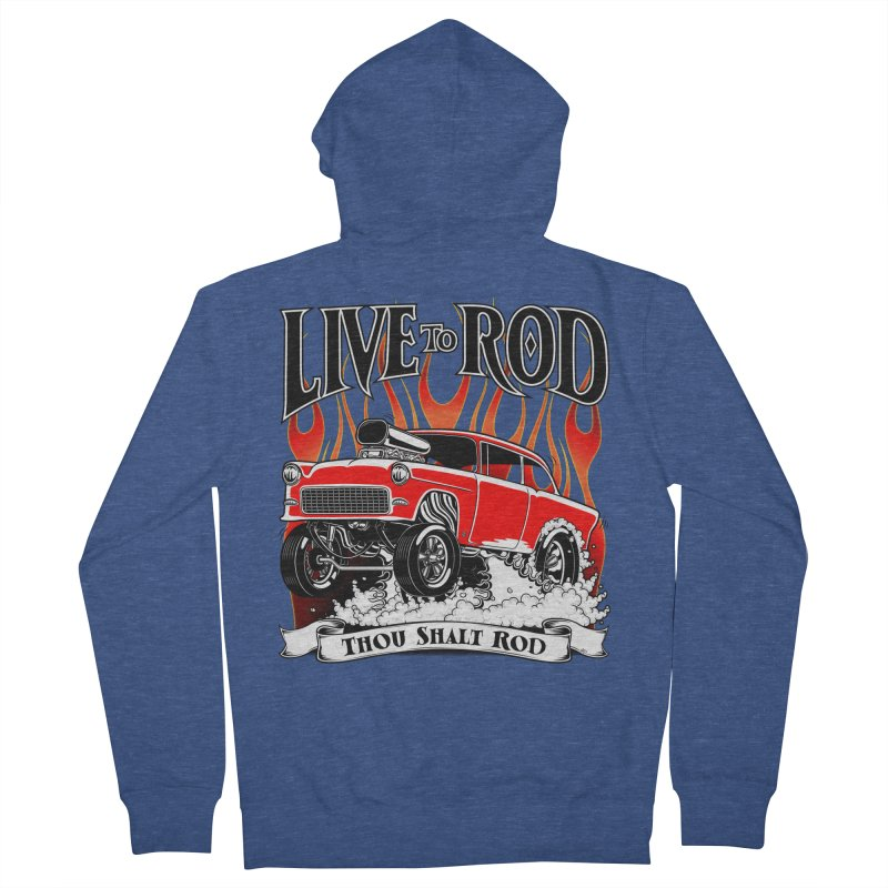 55 Chevy Gasser #2, Clean red Men's Zip-Up Hoody by screamnjimmy's Artist Shop