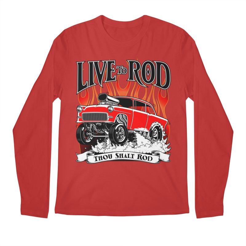 55 Chevy Gasser #2, Clean red Men's Longsleeve T-Shirt by screamnjimmy's Artist Shop