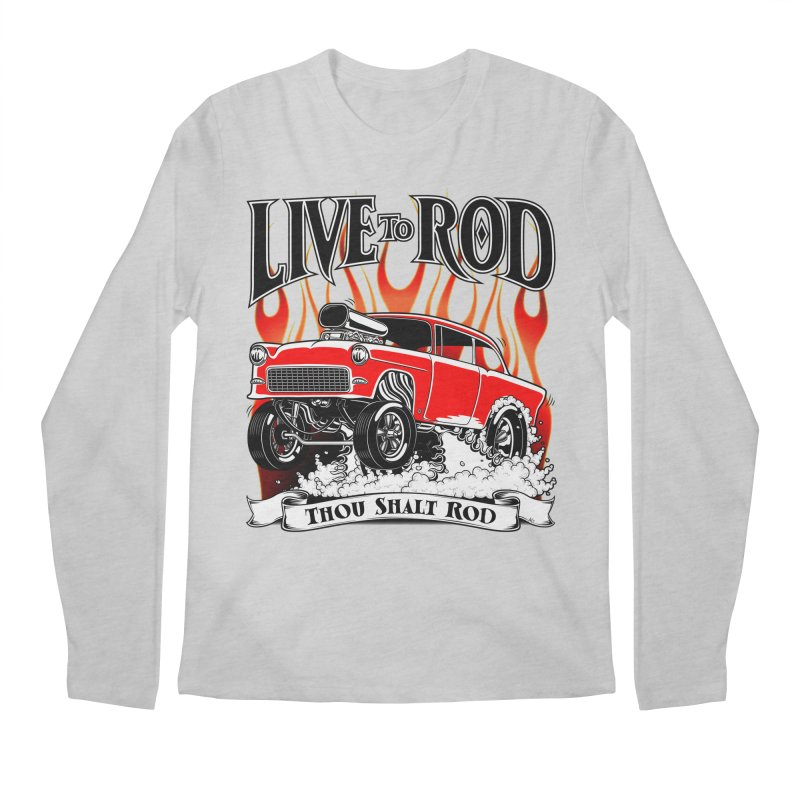 55 Chevy Gasser #2, Clean red Men's Longsleeve T-Shirt by screamnjimmy's Artist Shop