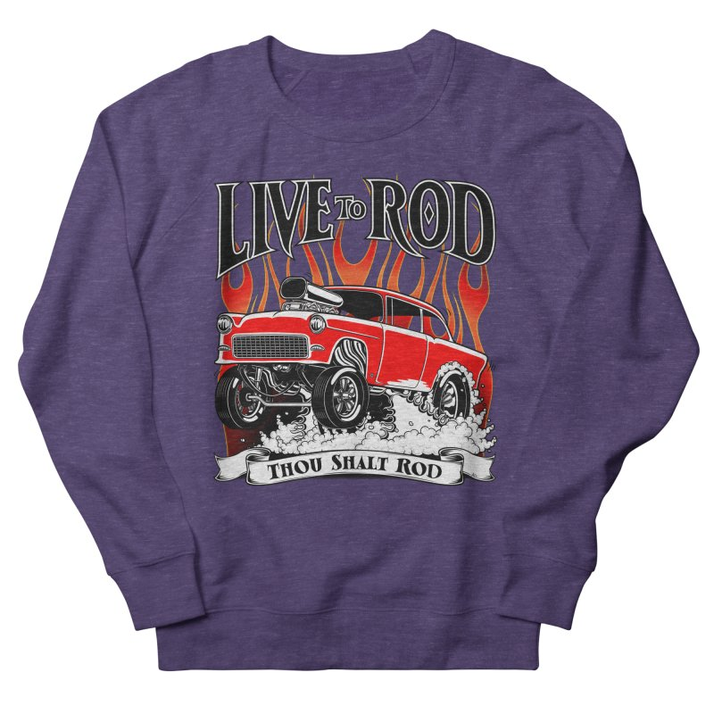 55 Chevy Gasser #2, Clean red Men's French Terry Sweatshirt by screamnjimmy's Artist Shop