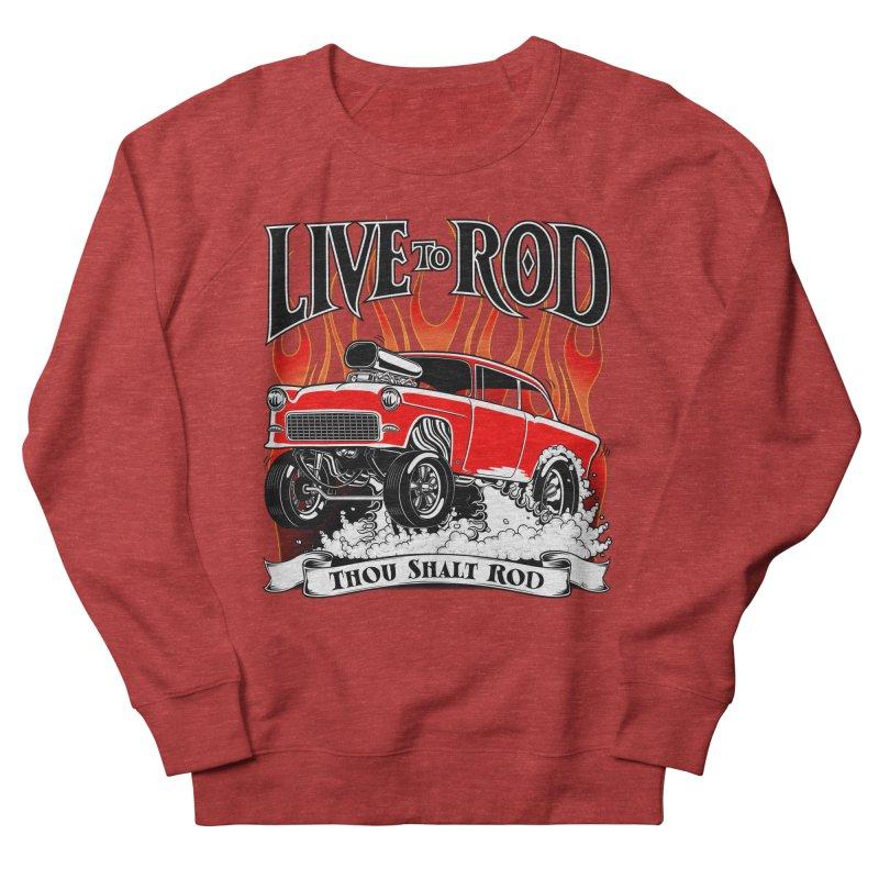 55 Chevy Gasser #2, Clean red Men's French Terry Sweatshirt by screamnjimmy's Artist Shop