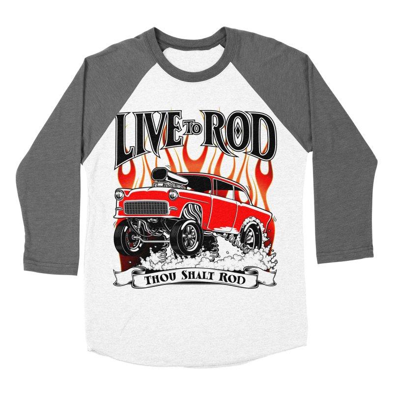 55 Chevy Gasser #2, Clean red Men's Baseball Triblend Longsleeve T-Shirt by screamnjimmy's Artist Shop