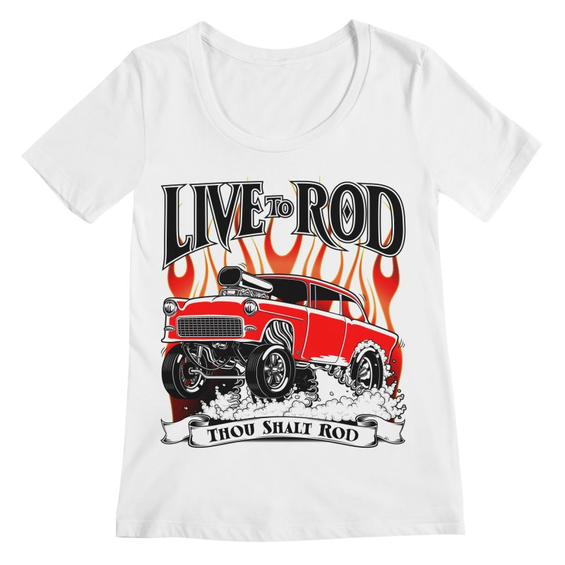 55 Chevy Gasser #2, Clean red Women's Regular Scoop Neck by screamnjimmy's Artist Shop