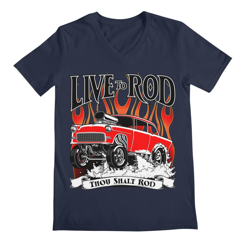 55 Chevy Gasser #2, Clean red Men's Regular V-Neck by screamnjimmy's Artist Shop
