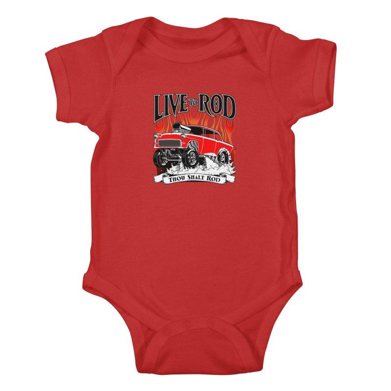 55 Chevy Gasser #2, Clean red Kids Baby Bodysuit by screamnjimmy's Artist Shop
