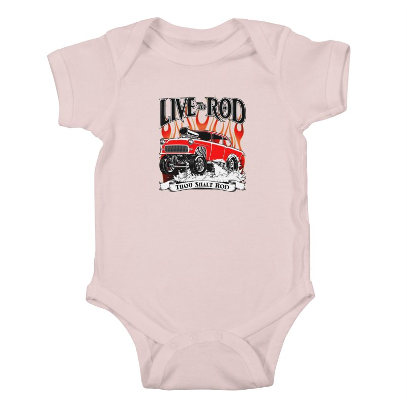 55 Chevy Gasser #2, Clean red Kids Baby Bodysuit by screamnjimmy's Artist Shop