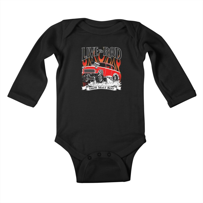 55 Chevy Gasser #2, Clean red Kids Baby Longsleeve Bodysuit by screamnjimmy's Artist Shop