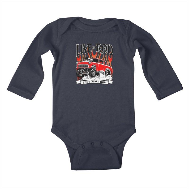 55 Chevy Gasser #2, Clean red Kids Baby Longsleeve Bodysuit by screamnjimmy's Artist Shop