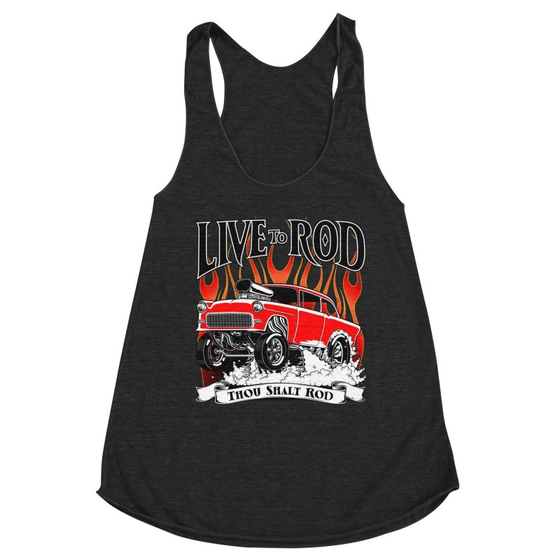 55 Chevy Gasser #2, Clean red Women's Racerback Triblend Tank by screamnjimmy's Artist Shop