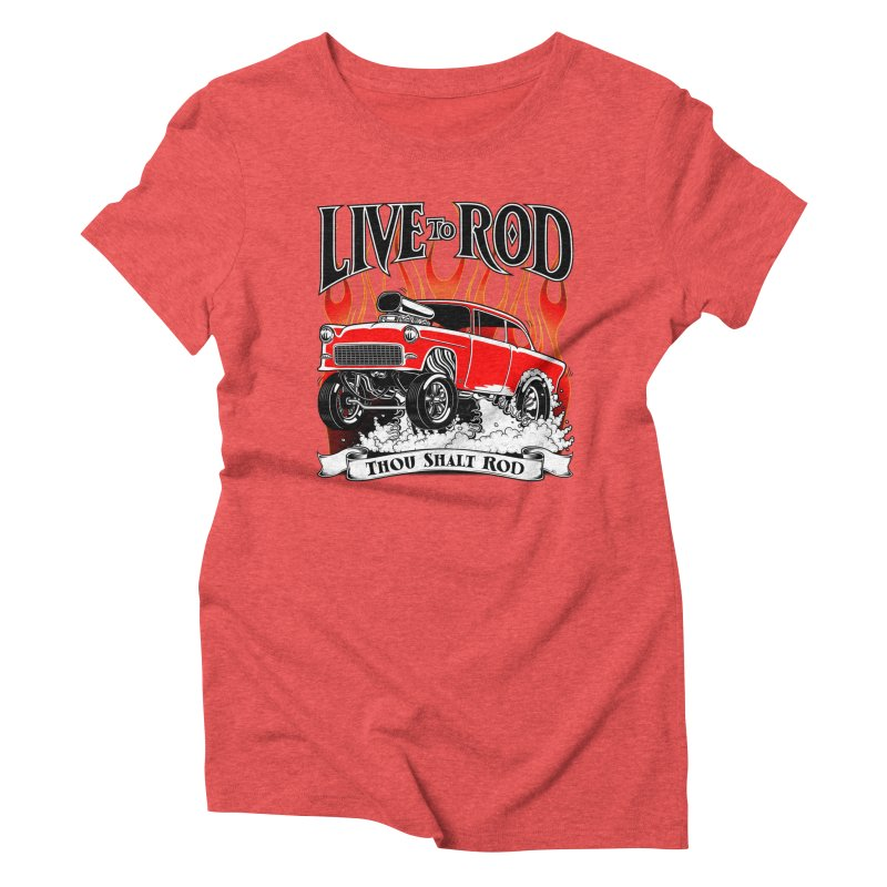55 Chevy Gasser #2, Clean red Women's T-Shirt by screamnjimmy's Artist Shop