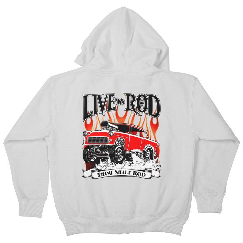55 Chevy Gasser #2, Clean red Kids Zip-Up Hoody by screamnjimmy's Artist Shop