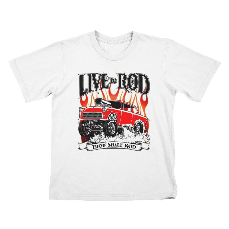 55 Chevy Gasser #2, Clean red Kids T-Shirt by screamnjimmy's Artist Shop