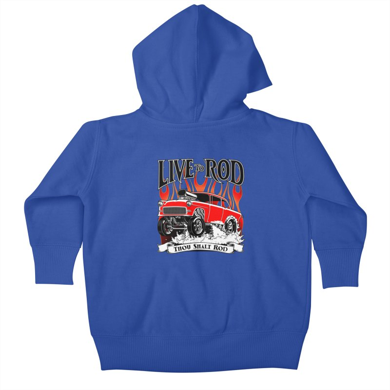 55 Chevy Gasser #2, Clean red Kids Baby Zip-Up Hoody by screamnjimmy's Artist Shop