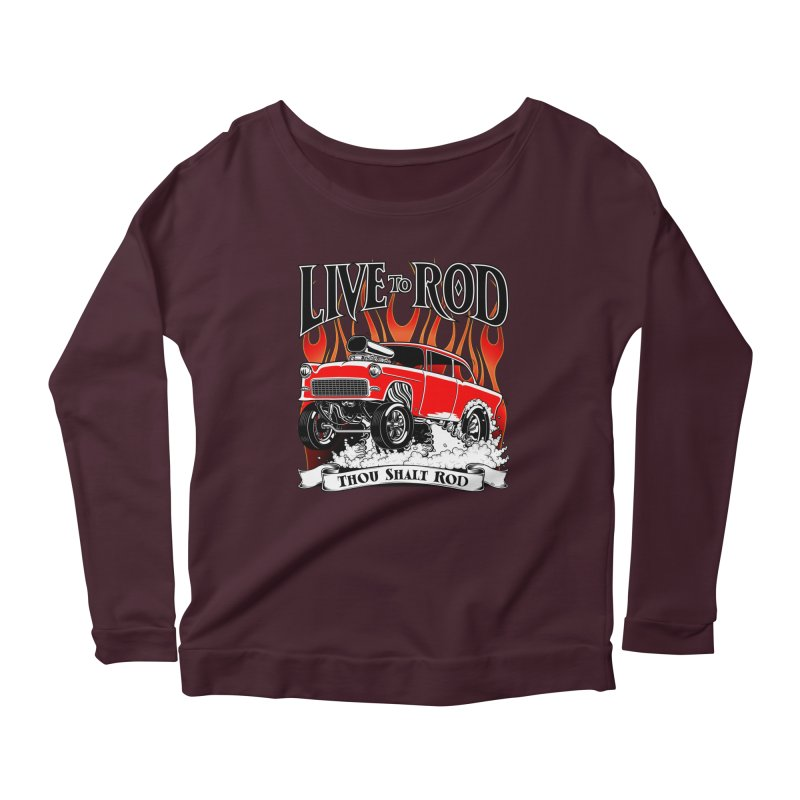 55 Chevy Gasser #2, Clean red Women's Scoop Neck Longsleeve T-Shirt by screamnjimmy's Artist Shop