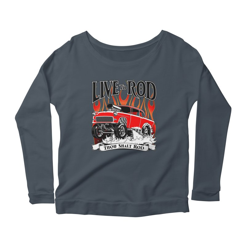 55 Chevy Gasser #2, Clean red Women's Scoop Neck Longsleeve T-Shirt by screamnjimmy's Artist Shop